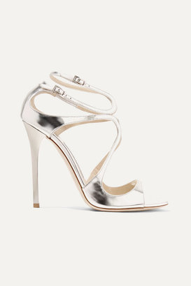 Jimmy Choo Lance 115 Metallic Leather Sandals - Silver