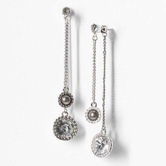 Vera Wang Simply vera tone simulated pearl & simulated crystal linear drop earrings