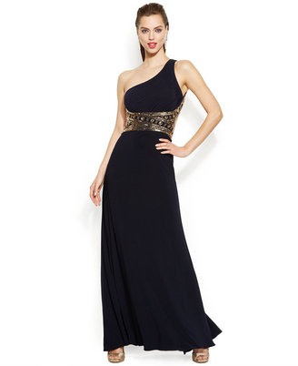 Betsy & Adam One-Shoulder Sequined Gown