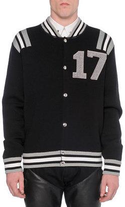"""Givenchy """"17"""" Knit Varsity Jacket, Black $1,495 thestylecure.com"""