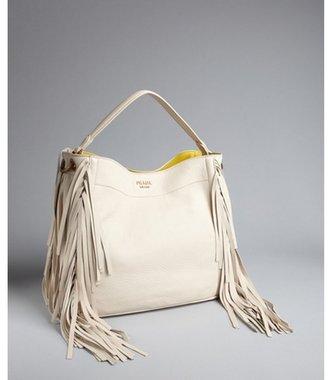 Prada white pebbled leather tassel trim shoulder bag