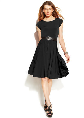 MICHAEL Michael Kors Cap-Sleeve Belted Knit Dress