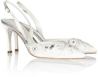 Rene Caovilla Embellished glitter-soled satin slingback pumps