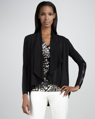Lafayette 148 New York Leather-Sleeve Open Cardigan