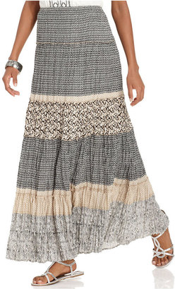 Style&Co. Petite Skirt, Printed Tiered Maxi