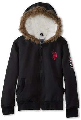 U.S. Polo Assn. Kids Sherpa Lined Zip Front Hoodie with Faux Fur Trim (Big Kids)