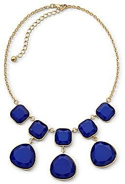JCPenney Double-Tier Blue Stone Illusion Goldtone Necklace
