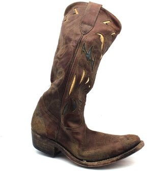 "Golden Goose 273-A2 The Flying Boot"" Brown Distressed Tooled Leather"