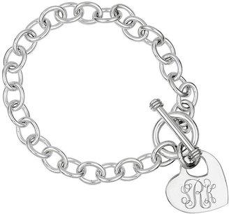Sterling Personalized Cutout Heart Charm Link Bracelet