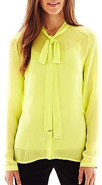JCPenney Worthington® Long-Sleeve Button-Front Bow Blouse with Cami - Talls