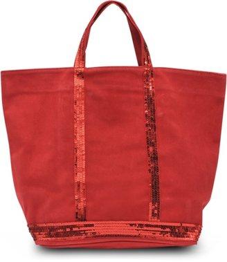 Vanessa Bruno Medium velvet leather tote with glitter