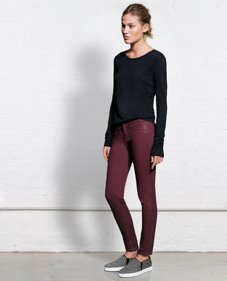 Rag and Bone Zipper Capri - Coated Burgundy