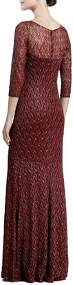 David Meister Three-Quarter-Sleeve Lace Gown