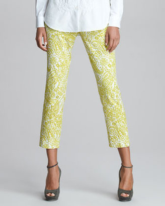Etro Printed Cropped Pants, Chartreuse