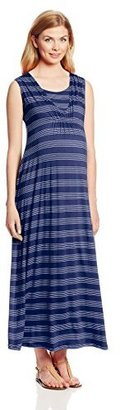 Japanese Weekend Women's Maternity During and After Stripe Nursing Maxi Dress