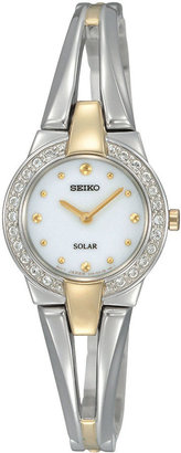 Seiko Womens Two-Tone Crystal Accent Solar Watch SUP206 $275 thestylecure.com