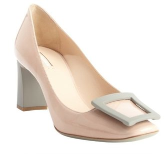 Armani cream patent leather buckle detail pumps