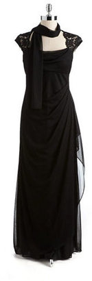 Xscape Evenings Cowlneck Gown With Chiffon Scarf