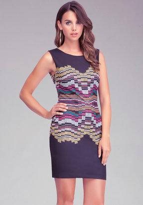 Bebe Printed Back Detail Dress