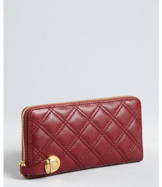 Marc Jacobs oxblood quilted leather 'The Deluxe' continental zip around wallet