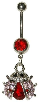 Women's Supreme JewelryTM Curved Barbell Belly Ring with Stones - Silver/Red