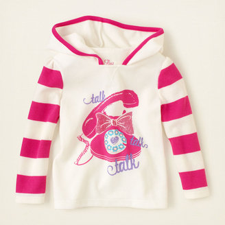 Children's Place Stripe sleeve thermal hoodie