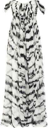 Alexander McQueen White Tiger printed silk-chiffon gown