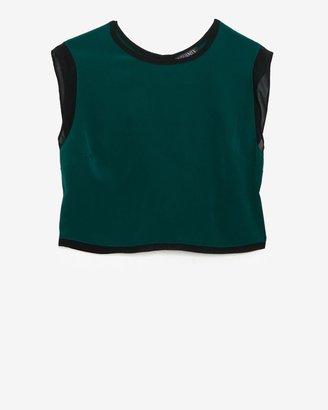 Intermix Exclusive For Button Back Silk Crop Sleeveless Blouse