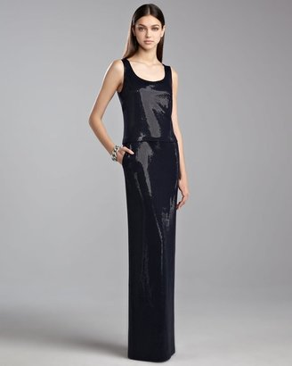 St. John Sequined Milano Bateau Gown, Navy