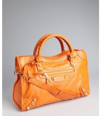 Balenciaga orange leather 'City' convertible satchel