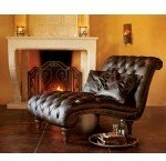 Napa Style Double Heirloom Leather Chaise Lounge Club Brown