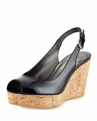 Stuart Weitzman Jean Patent Peep-Toe Wedge Sandal, Black $398 thestylecure.com