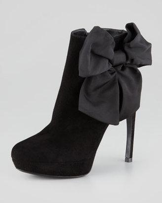 Alexander McQueen Bow-Ankle Suede Bootie, Black