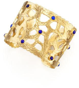 Lapis Dina Mackney Hammered Gold Cuff,