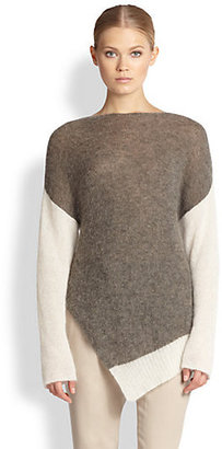 Helmut Lang Brushed Alpaca Asymmetrical Sweater