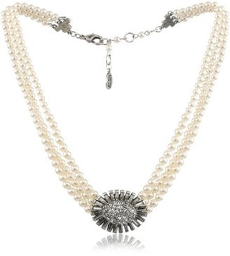 """Ben-Amun Jewelry """"Pearl and Crystal"""" Crystal Sunflower Necklace"""