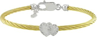 Ice.com Stainless Steel Yellow Cable Bangle with Diamond Silver Heart & Silver Lobster Clasp