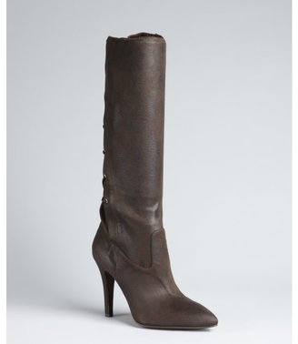 BCBGeneration chocolate stretch suede 'Erinn' lace back boots