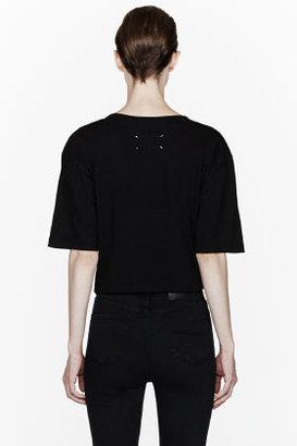Maison Martin Margiela Black cropped Sequin T-Shirt