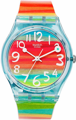 Swatch Watch, Unisex Swiss Color the Sky Rainbow Plastic Strap 34mm GS124 $60 thestylecure.com