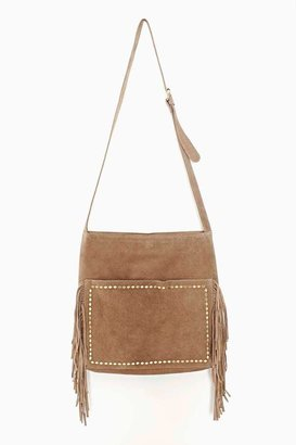 Nasty Gal Diamondback Suede Fringe Bag - Taupe