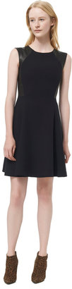 Rebecca Taylor Cap Sleeve Dress With Leather Detail