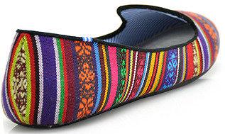 Charles Philip Peruvian Stripe - Raspberry Stripe Pattern Canvas Loafer