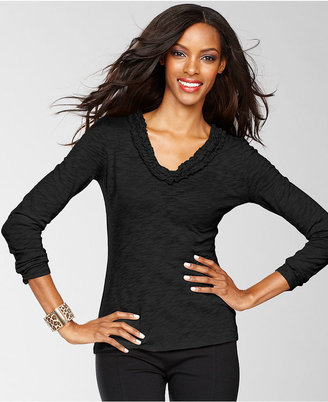 INC International Concepts Petite Top, Long-Sleeve V-Neck Ruffle-Trim