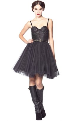 Alice + Olivia Gia Leather Bustier Pleated Skirt Dress