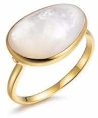 Mother of Pearl Piara Genuine White Sterling Silver and 18K Yellow Gold Solitaire Ring