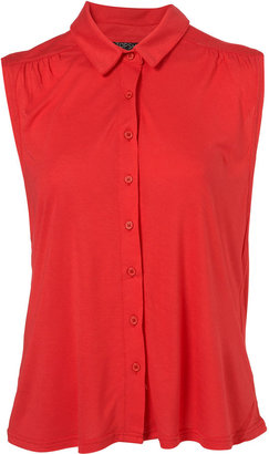 Topshop Red Basic Button Through Sleeveless Shirt