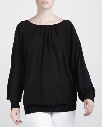 Michael Kors Knit-Trim Crepe Top