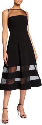 Aidan Mattox Sleeveless Crepe & Mesh A-Line Dress