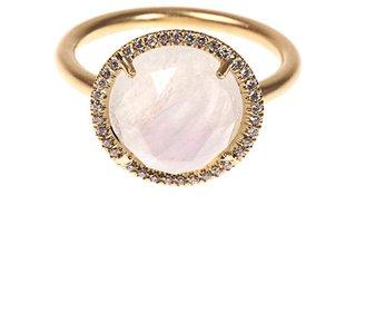 Irene Neuwirth Diamond, rainbow moonstone & gold ring